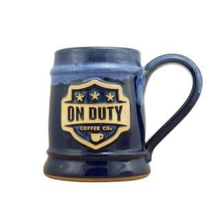 handmade custom coffee mugs with your logo grey fox pottery